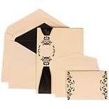 JAM Paper® Wedding Invitation Combo Sets, 1 Sm 1 Lg, Ivory with Black Lined Envelopes with Monogram