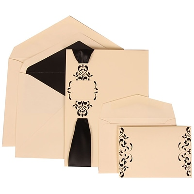 JAM Paper® Wedding Invitation Combo Sets, 1 Sm 1 Lg, Ivory with Black Lined Envelopes with Monogram Ribbon, 150/pack (303224685)