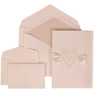 JAM Paper® Wedding Invitation Combo Sets, 1 Sm 1 Lg, White Cards with Hearts, Ribbon, Crystal Lined Envelope, 150/pk (303724997)