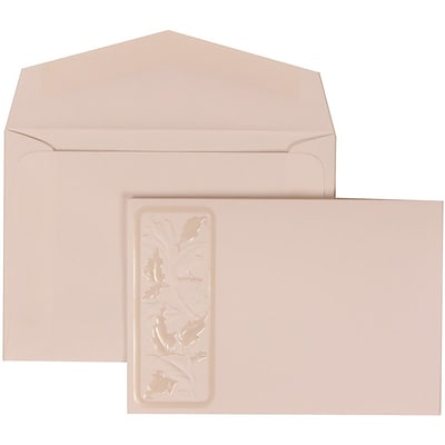 JAM Paper® Wedding Invitation Set, Small, 3 3/8 x 4 3/4, White Card with Falling Leaves, White Envelopes, 100/pack (304225013)
