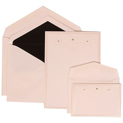 JAM Paper® Wedding Invitation Combo Sets, 1 Sm 1 Lg, White Cards, Ivory Heart Jewels, Black Lined Envelopes, 150/pk (305424696)