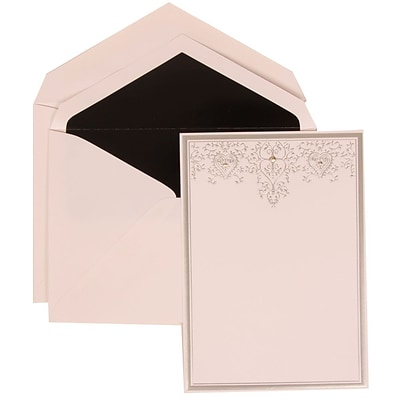 JAM Paper® Wedding Invitation Set, Large, 5.5 x 7.75, White Cards, Silver Heart Jewels, Black Lined Envelopes, 50/pk (305524708)