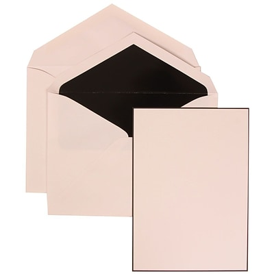 JAM Paper® Wedding Invitation Set, Large, 5.5 x 7.75, White Card, Black Border Floral, Black Lined Envelopes, 50/pk (306924827)