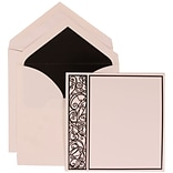 JAM Paper® Wedding Invitation Set, Large, 7 x 7, White with Black Lined Envelopes and Black Intricat