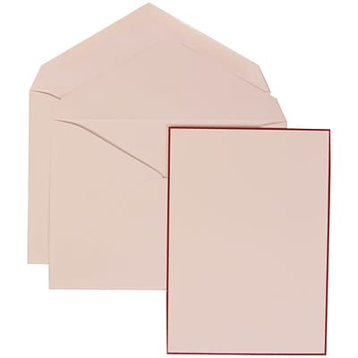 JAM Paper® Wedding Invitation Set, Large, 5.5 x 7.75, Crimson Red Border Card with White Lined Envelopes, 50/pack (308024924)