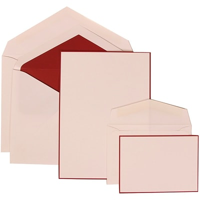 JAM Paper® Wedding Invitation Combo Sets, 1 Sm 1 Lg, White Cards with Red Border, Red Lined Envelopes, 50/pack (308024923)