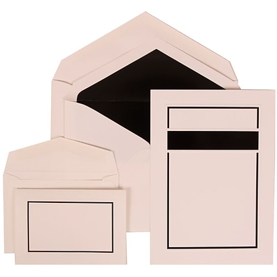 JAM Paper® Wedding Invitation Combo Sets, 1 Sm 1 Lg, White Cards with Black Border, Black Lined Envelopes, 150/Pack (310025080)