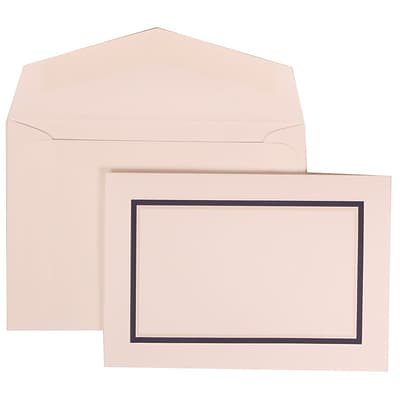 JAM Paper® Wedding Invitation Set, Small, 3 3/8 x 4 3/4, White Card, Black and Blue Border, White Envelopes, 100/pk (310425110)