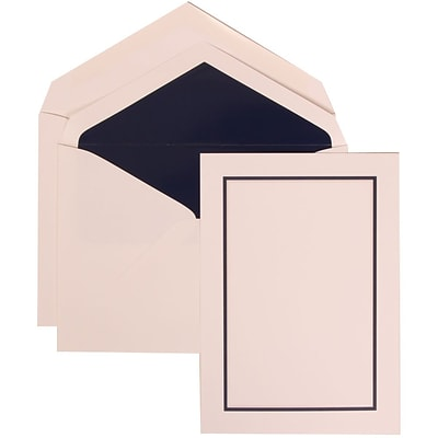 JAM Paper® Wedding Invitation Set, Large, 5.5 x 7.75, White Cards with Navy Blue Border, Navy Lined Envelopes, 50/pk (310625127)