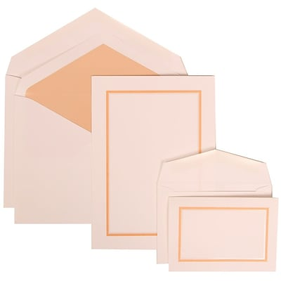JAM Paper® Wedding Invitation Combo Sets, 1 Sm 1 Lg, White Cards with Apricot Border, Apricot Lined Envelope, 150/pk (310725149)
