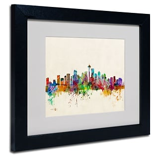 Trademark Fine Art Seattle, Washington 11 x 14 Black Frame Art