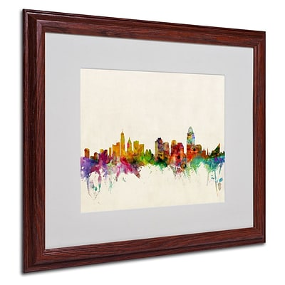 Trademark Fine Art Cincinnati, Ohio 16 x 20 Wood Frame Art