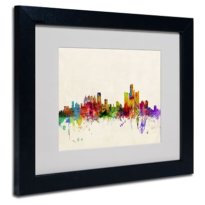 Trademark Fine Art Detroit, Michigan 11 x 14 Black Frame Art