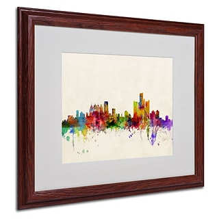 Trademark Fine Art Detroit, Michigan 16 x 20 Wood Frame Art