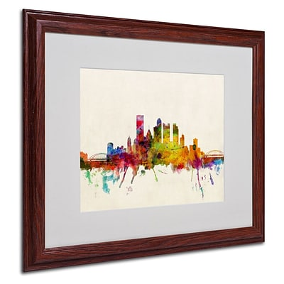 Trademark Fine Art Pittsburgh, PA 16 x 20 Wood Frame Art