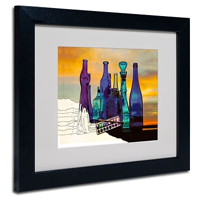 Trademark Fine Art Blue Sunset By Numbers 11 x 14 Black Frame Art