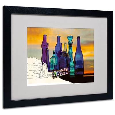Trademark Fine Art Blue Sunset By Numbers 16 x 20 Black Frame Art