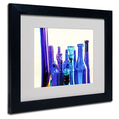 Trademark Fine Art Blue Bottle Tops 11 x 14 Black Frame Art