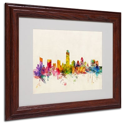 Trademark Fine Art Austin; Texas 11 x 14 Wood Frame Art