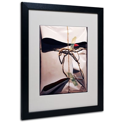 Trademark Fine Art White Wrap With Twine 16 x 20 Black Frame Art