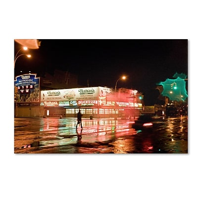 Trademark Fine Art Nathans Women Crossing Street Neon 16 x 24 Canvas Art