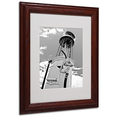 Trademark Fine Art Gas Pump 11 x 14 Wood Frame Art