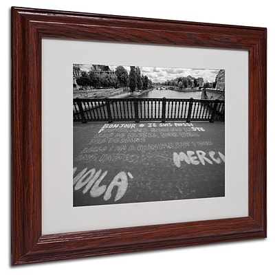 Trademark Fine Art Paris Bonjour Merci 11 x 14 Wood Frame Art