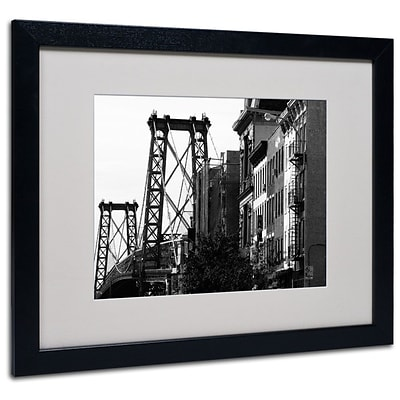 Trademark Fine Art Williamsburg Bridge 16 x 20 Black Frame Art