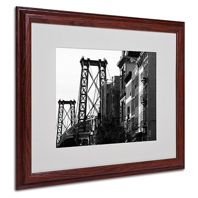 Trademark Fine Art Williamsburg Bridge 16 x 20 Wood Frame Art