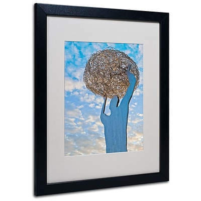 Trademark Fine Art World In Our Hands 16 x 20 Black Frame Art