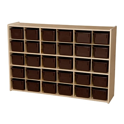 Wood Designs™ Contender™ 33 7/8H 30 Cubby Single Storage Unit W/Chocolate Tubs, Baltic Birch