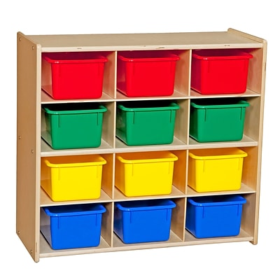 Wood Designs™ Contender™ 27 1/4H Assembled 12 Cubby Storage Unit With Colorful Tubs, Baltic Birch