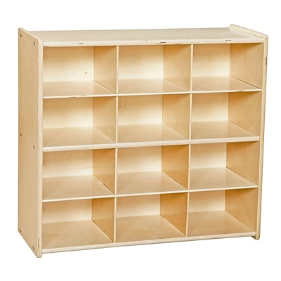 Wood Designs™ Contender™ 27 1/4H 12 Cubby Storage Unit Without Tubs, Baltic Birch