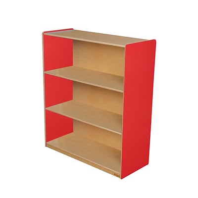 Wood Designs™ Storage 42(H) Fully Assembled Plywood Bookshelf, Strawberry Red