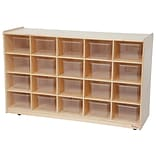 Wood Designs™ 20 Tray Storage With 20 Translucent Trays, Birch