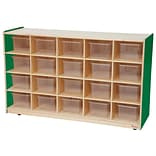 Wood Designs™ 20 Tray Storage With 20 Translucent Trays, Green Apple