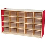 Wood Designs™ 20 Tray Storage With 20 Translucent Trays, Strawberry Red