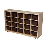 Wood Designs™ 20 Tray Storage With 20 Brown Trays, Birch