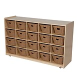 Wood Designs™ 20 Tray Storage With 20 Baskets, Birch