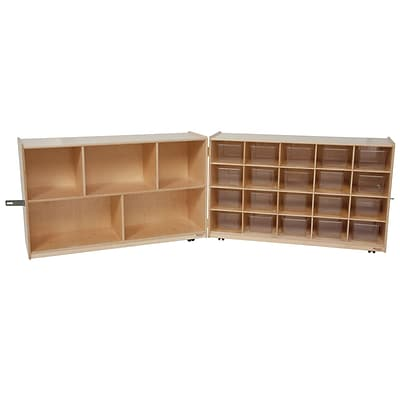 Wood Designs™ 30H Half and Half Folding Storage With 20 Clear Trays, Birch
