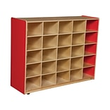 Wood Designs™ 25 Cubby Storage Cabinet Without Trays, Strawberry Red