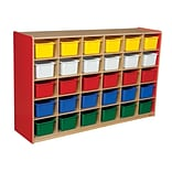 Wood Designs™ Cubby Storage Cabinet With 30 Assorted Trays, Strawberry Red