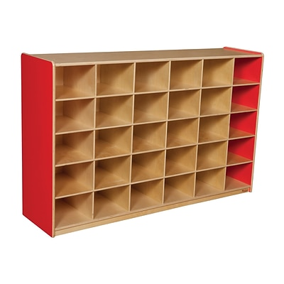 Wood Designs™ 30 Cubby Storage Cabinet Without Trays, Strawberry Red
