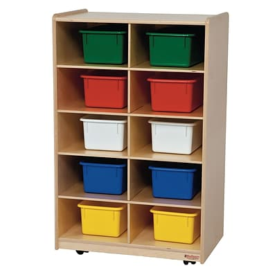 Wood Designs™ Vertical Storage With Ten Assorted Trays, Birch