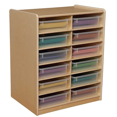 Wood Designs™ 12 - 3 Letter Tray Storage Unit With 12 Translucent Trays, Birch