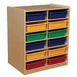 Wood Designs™ 12 - 3 Letter Tray Storage Unit With 12 Assorted Trays, Birch