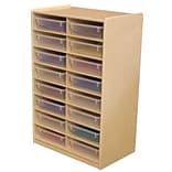 Wood Designs™ 16 - 3 Letter Tray Storage Unit With 16 Translucent Trays, Birch