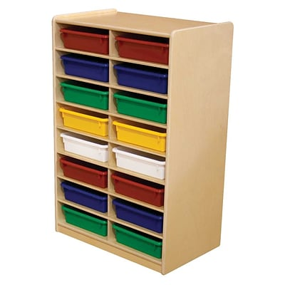 Wood Designs™ 16 - 3 Letter Tray Storage Unit With 16 Assorted Trays, Birch