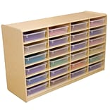 Wood Designs™ 24 - 3 Letter Tray Storage Unit With 24 Translucent Trays, Birch