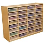 Wood Designs™ 32 - 3 Letter Tray Storage Unit With 32 Translucent Trays, Birch